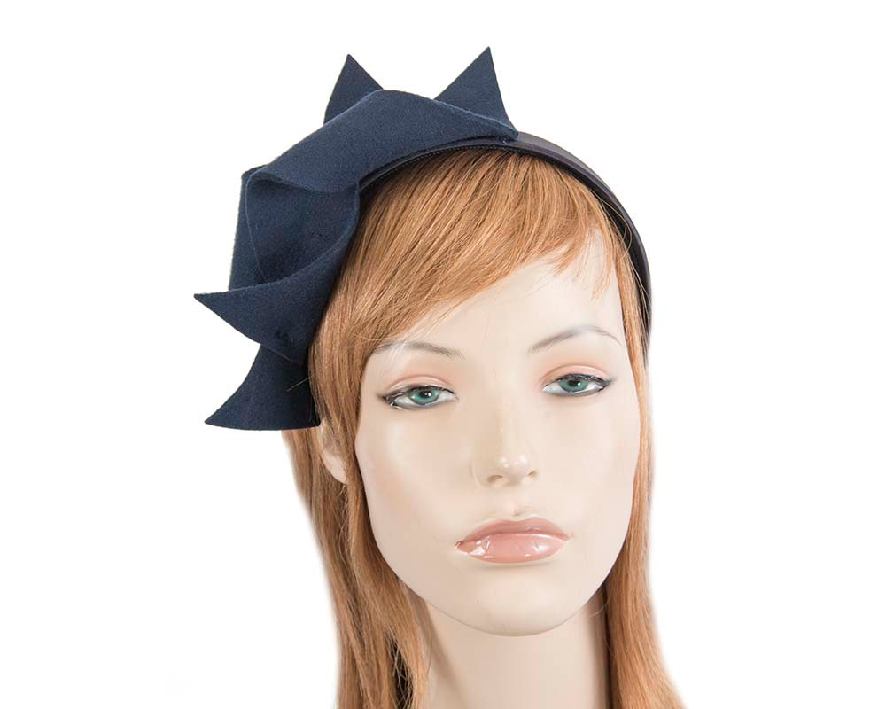 Navy felt twisted fascinator headband by Max Alexander