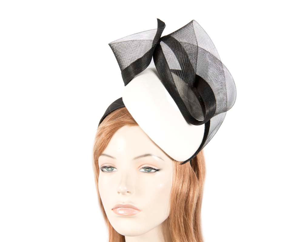 Cream & black pillbox winter racing fascinator