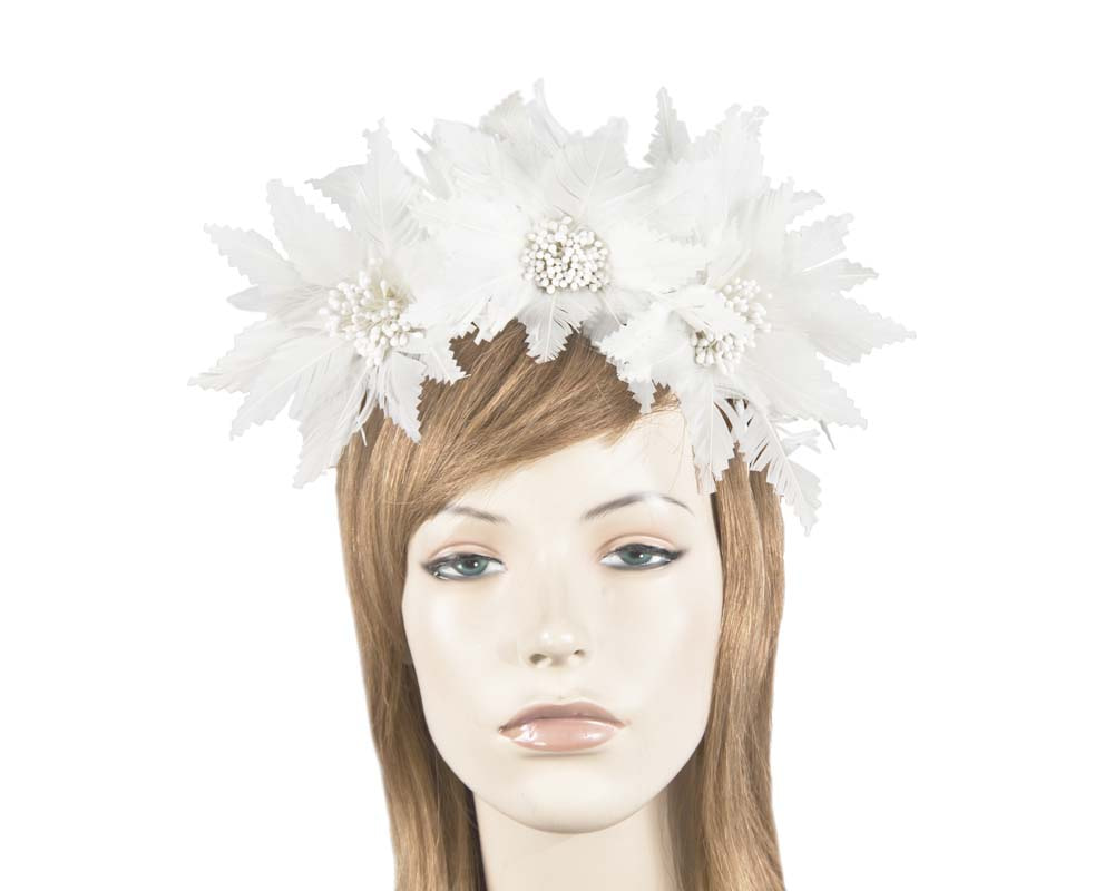 Cream crown feather fascinator