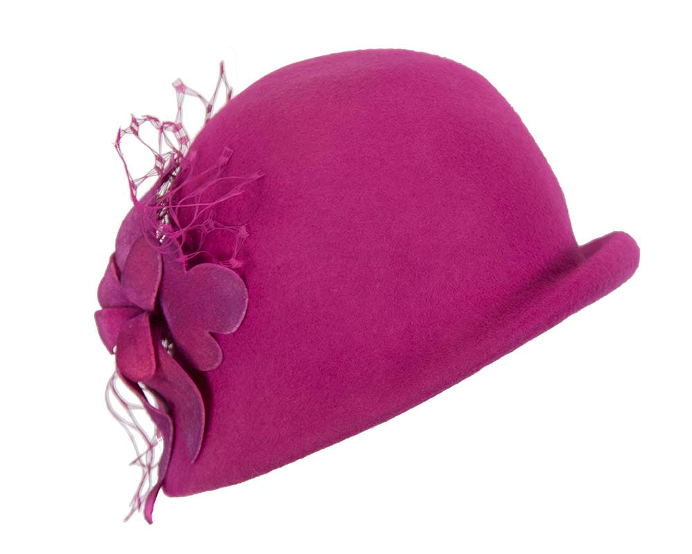 Fuchsia felt bucket hat with flower by Fillies Collection