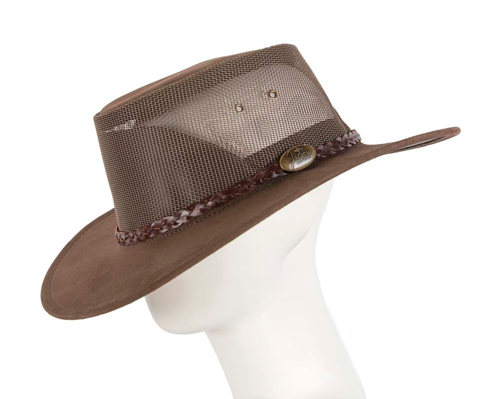 Brown Australian Suede Leather Cooler Jacaru Hat