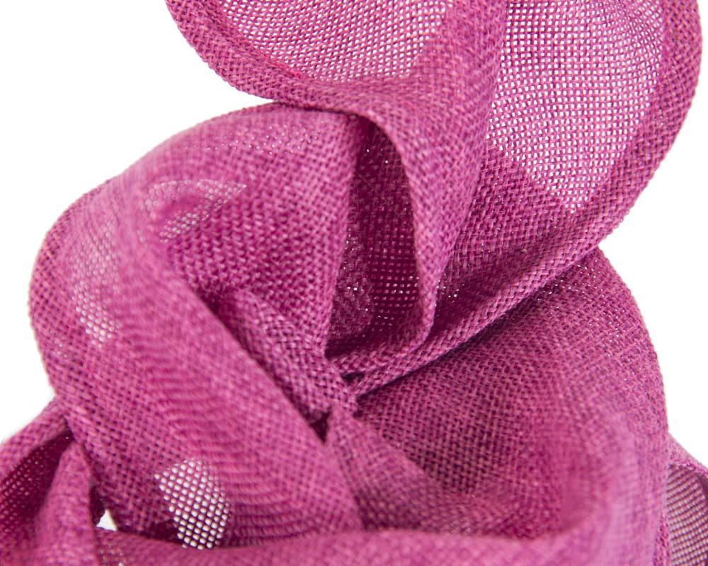 Fuchsia linen constructed fascinator