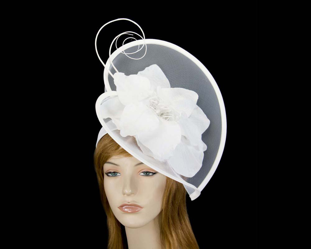 Large white flower heart fascinator