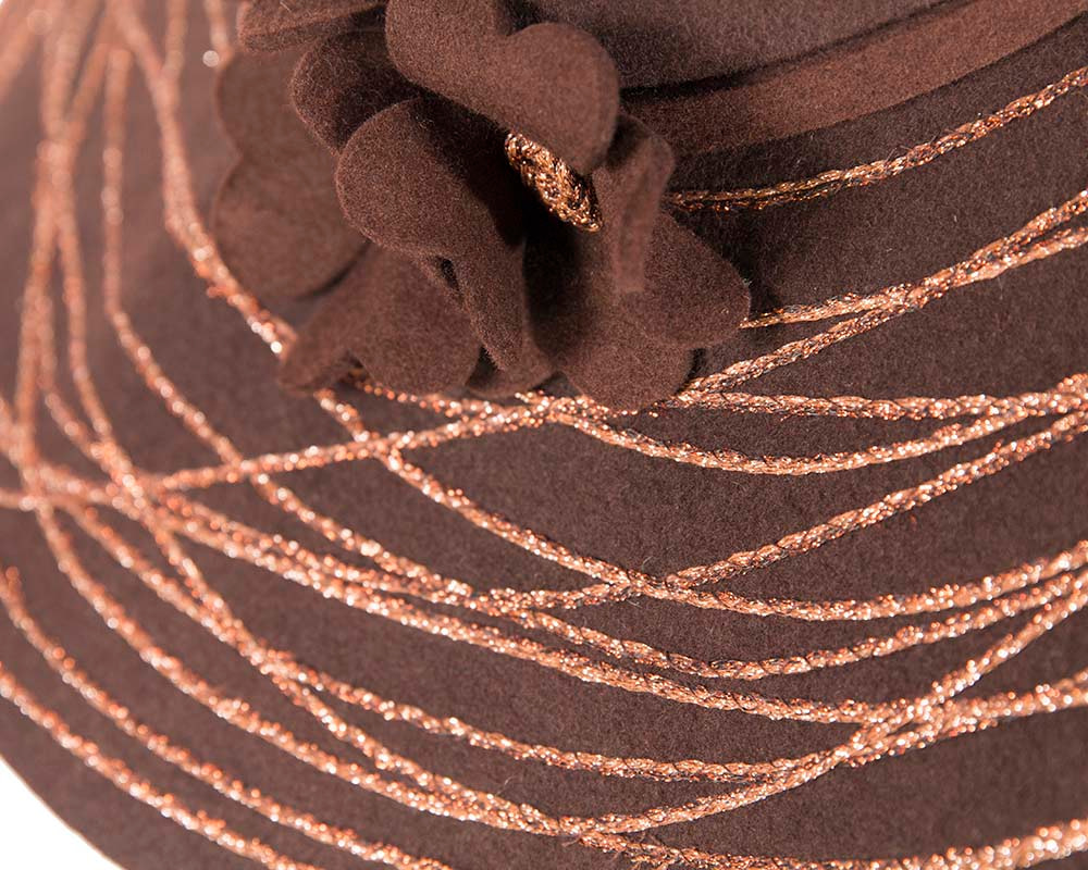 Wide brim chocolate winter cloche hat by Cupids Millinery Melbourne