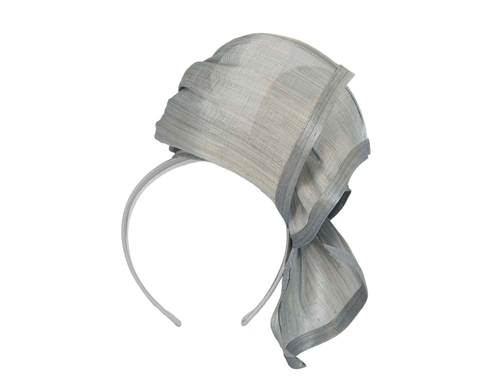 Bespoke silver silk abaca racing fascinator by Fillies Collection