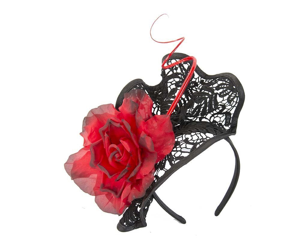 Black red lace fascinator for Melbourne Cup Derby races buy online in Aus