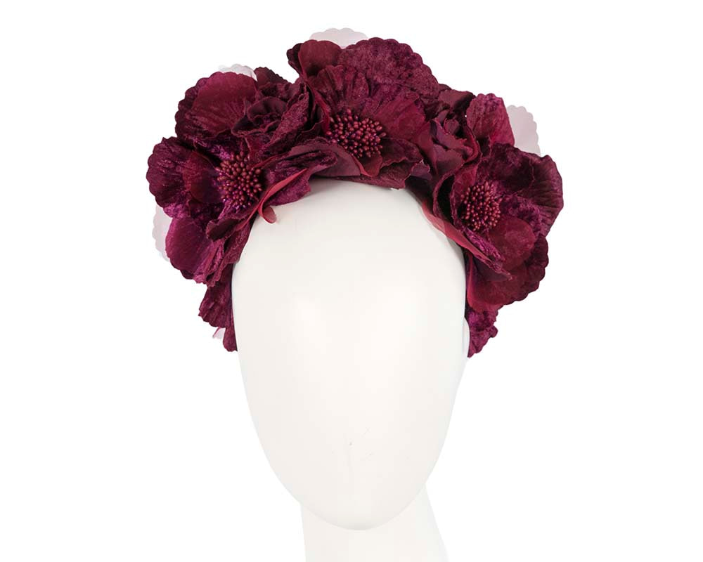 Wine flower halo fascinator