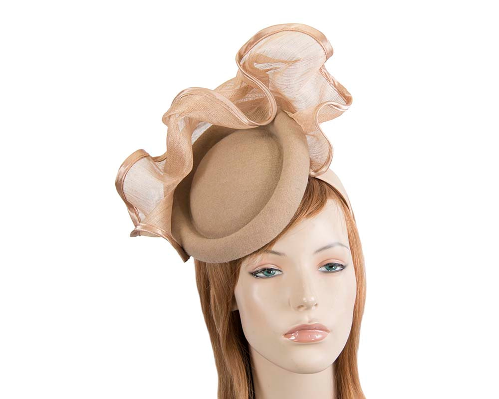 Bespoke beige winter racing fascinator by Fillies Collection