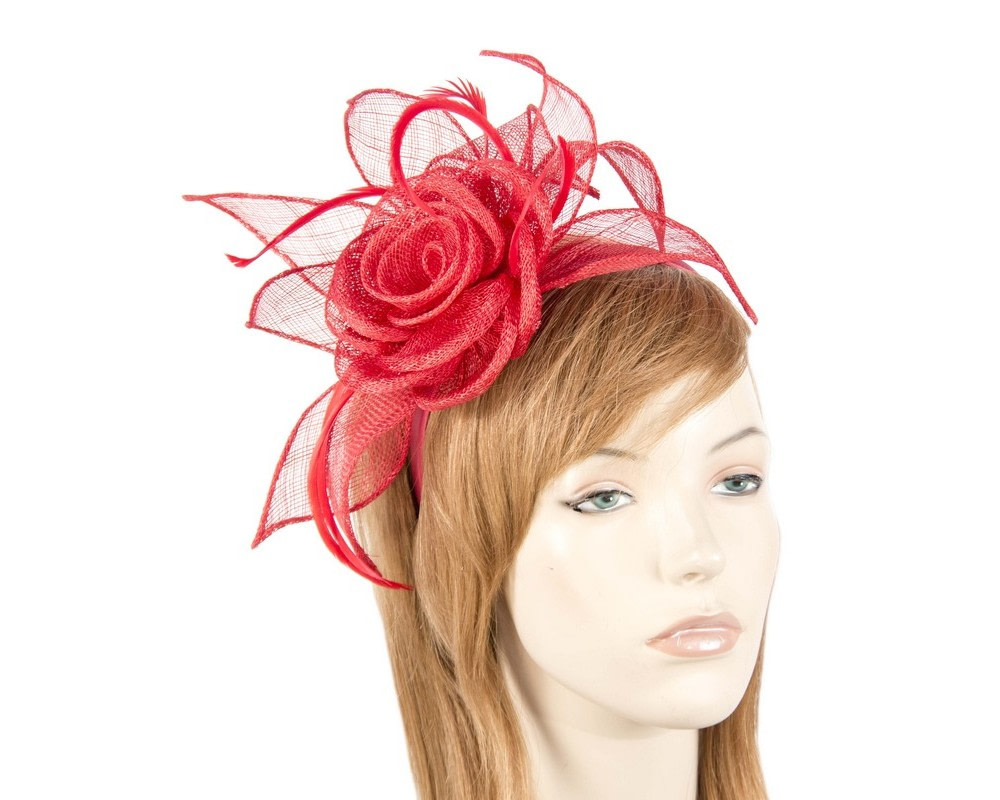Red sinamay flower fascinator