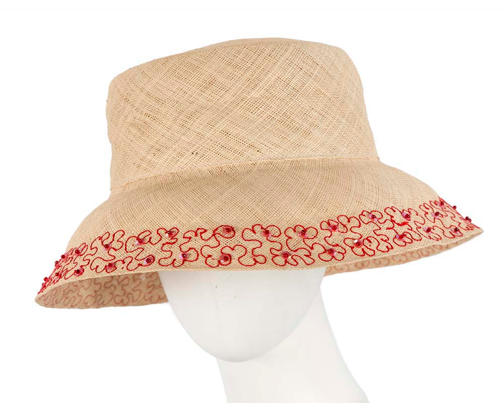 Summer sun bucket hat with red embroidery