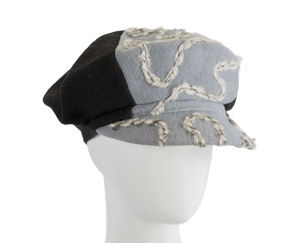 Black & grey winter newsboy cap by Max Alexander