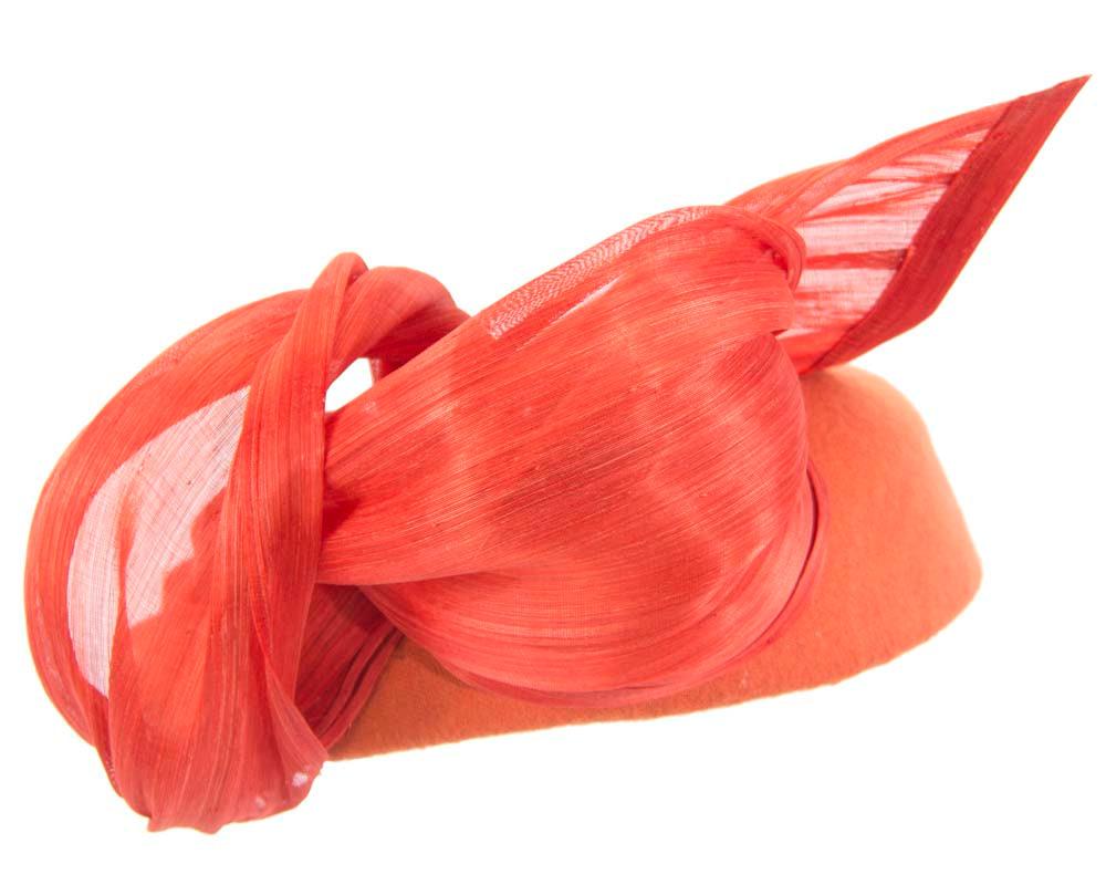 Orange winter pillbox with silk abaca trim