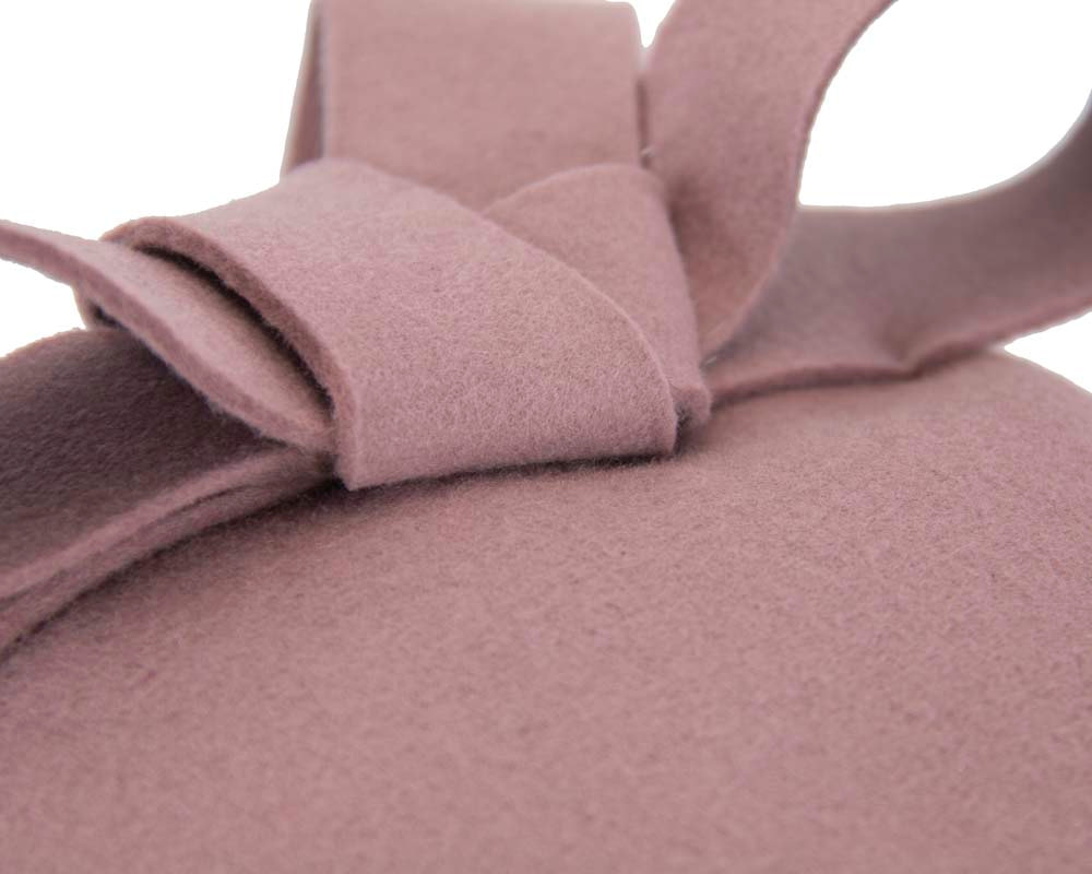 Dusty pink felt winter racing pillbox fascinator
