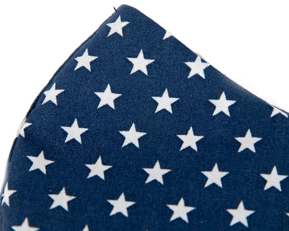 Comfortable re-usable navy cotton face mask with stars
