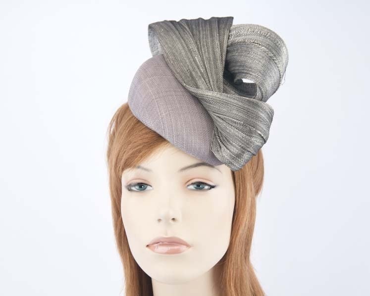 Silver pillbox fascinator for Melbourne Cup races by Fillies Collection