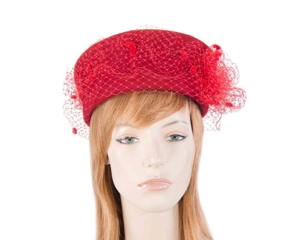 Large red felt beret hat