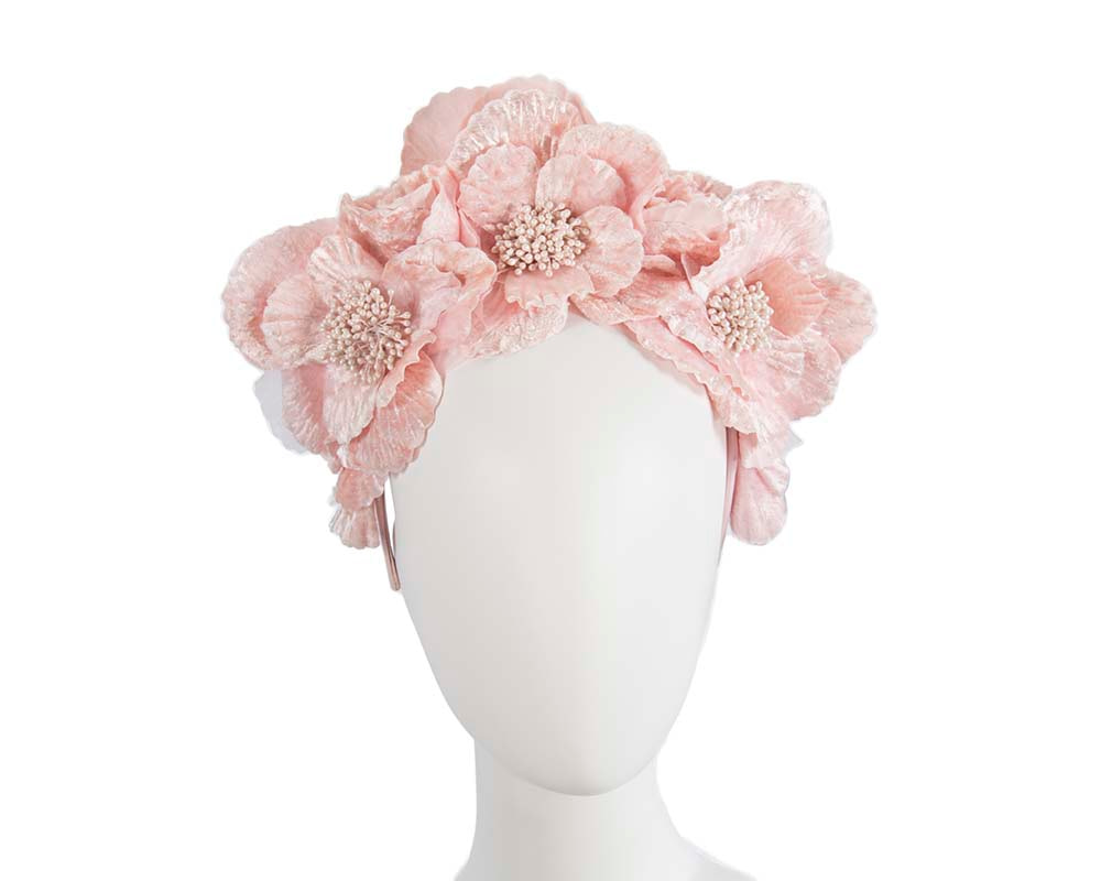 Pink flower halo fascinator
