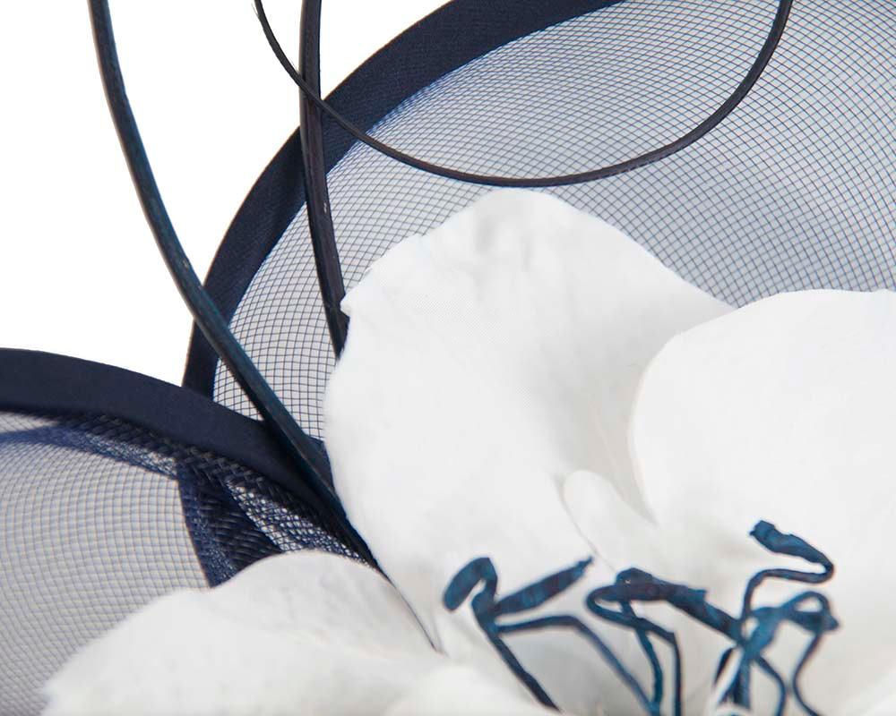 Large navy & white flower heart fascinator
