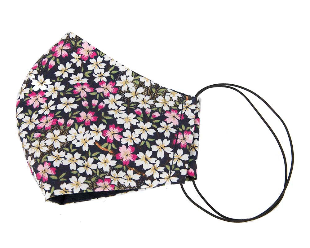 Comfortable re-usable cotton face mask with small flowers