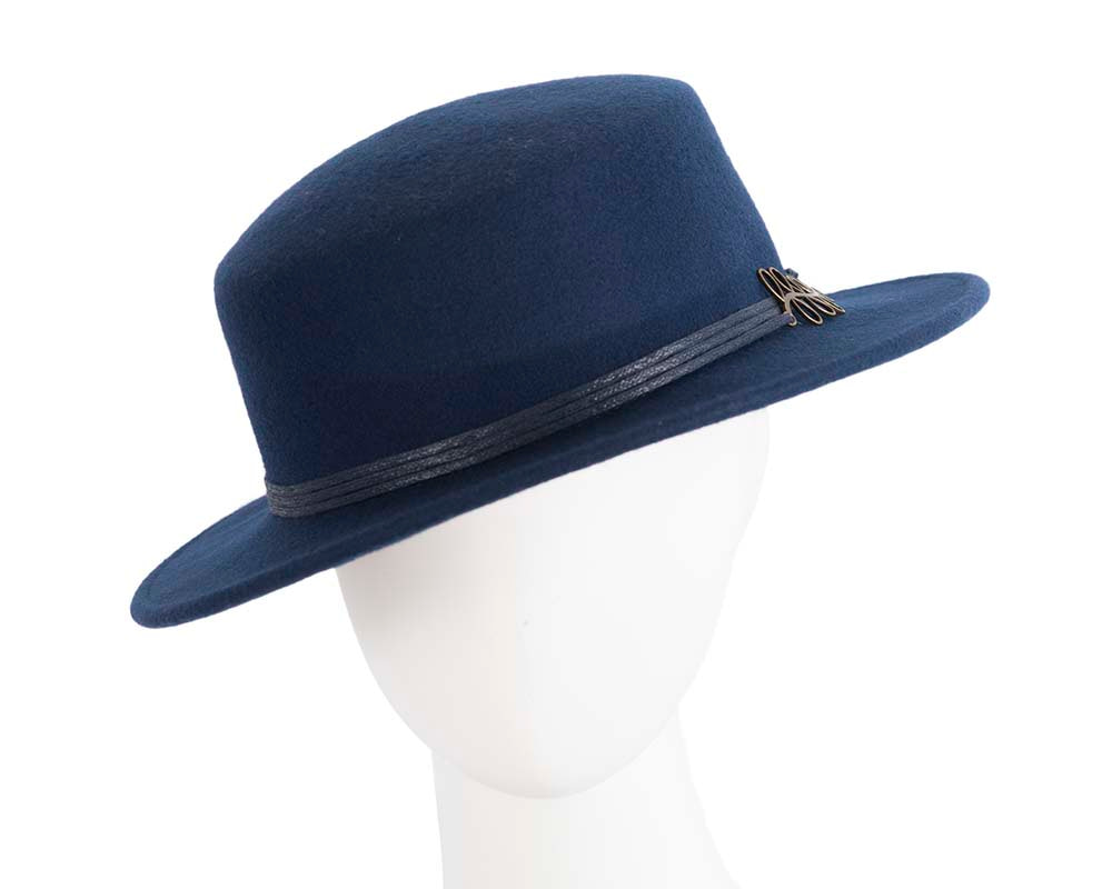 Wide brim navy ladies winter black felt boater by Cupids Millinery