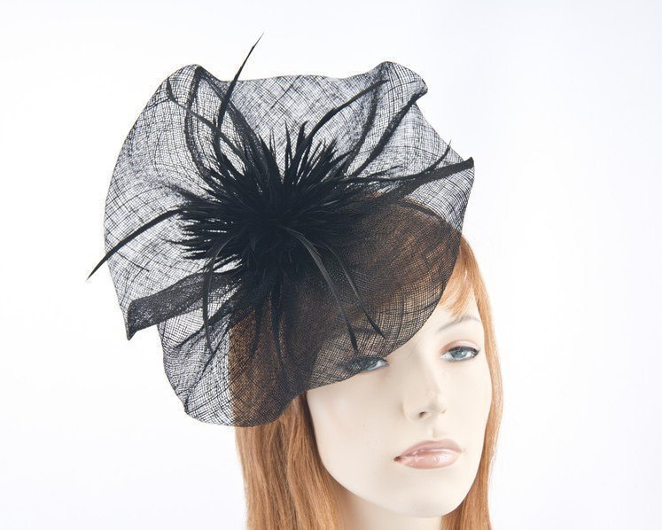 Black sinamay racing fascinator with feather flower by Max Alexander buy online MA691B