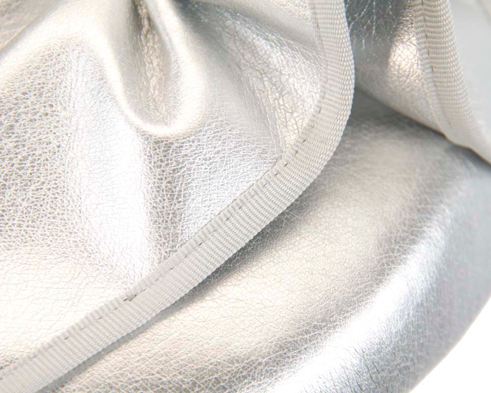 Silver leather racing pillbox fascinator