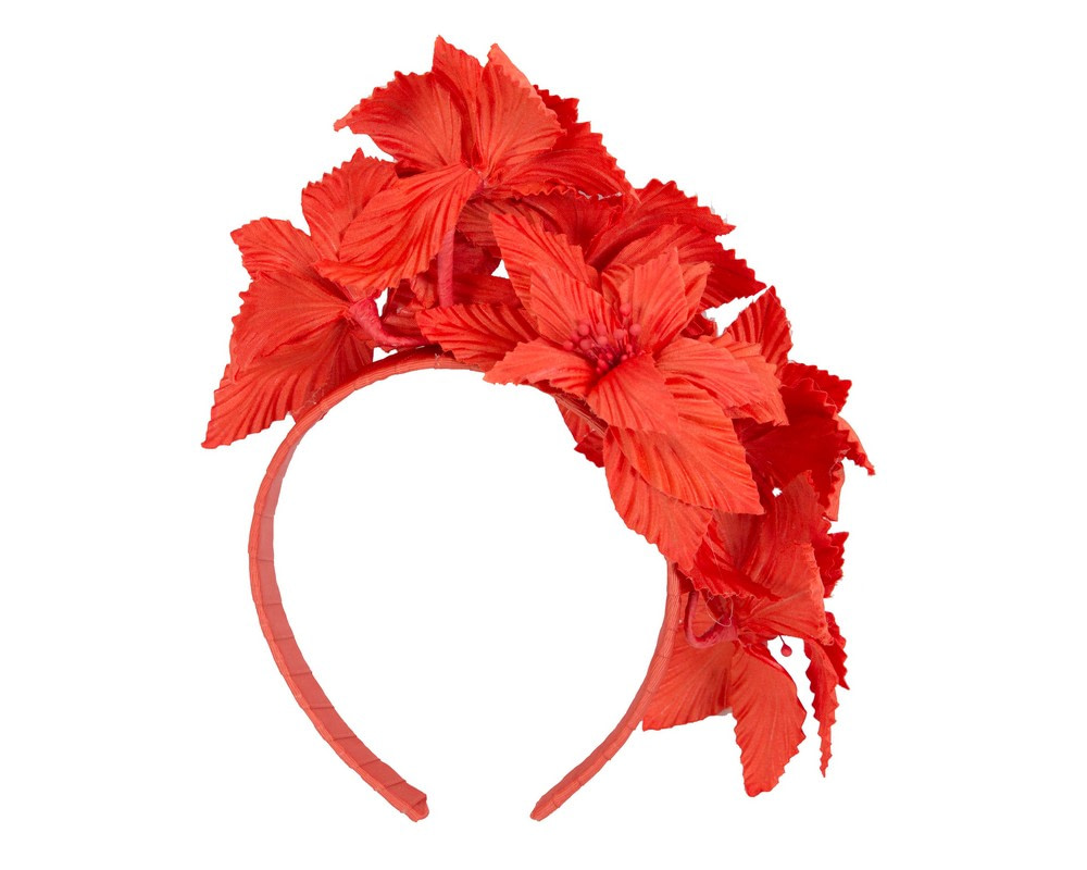 Orange sculptured flower headband fascinator by Fillies Collection
