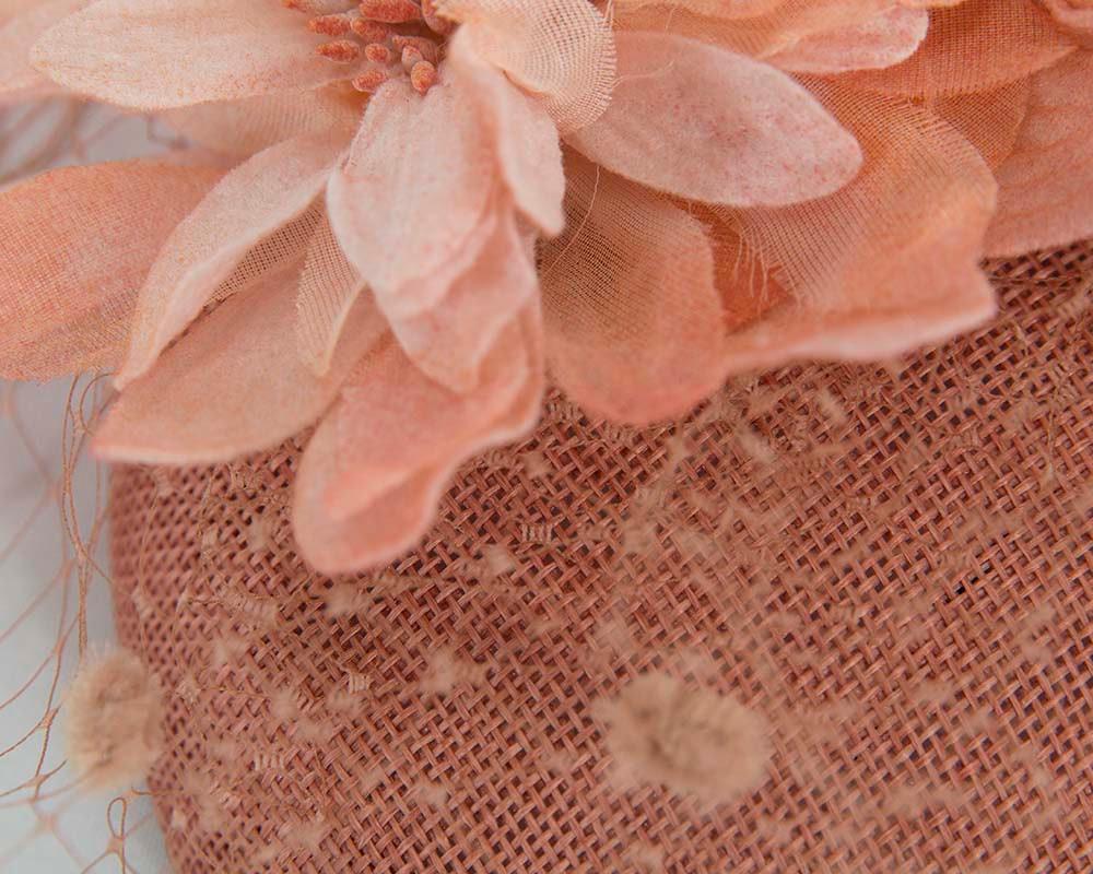 Dark Coral ladies pillbox fascinator with veil by Cupids Millinery Melbourne