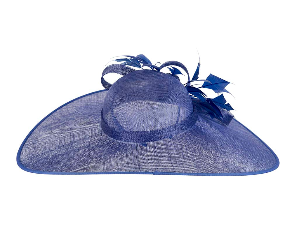 Large Royal Blue Fashion Racing Hat by Cupids Millinery