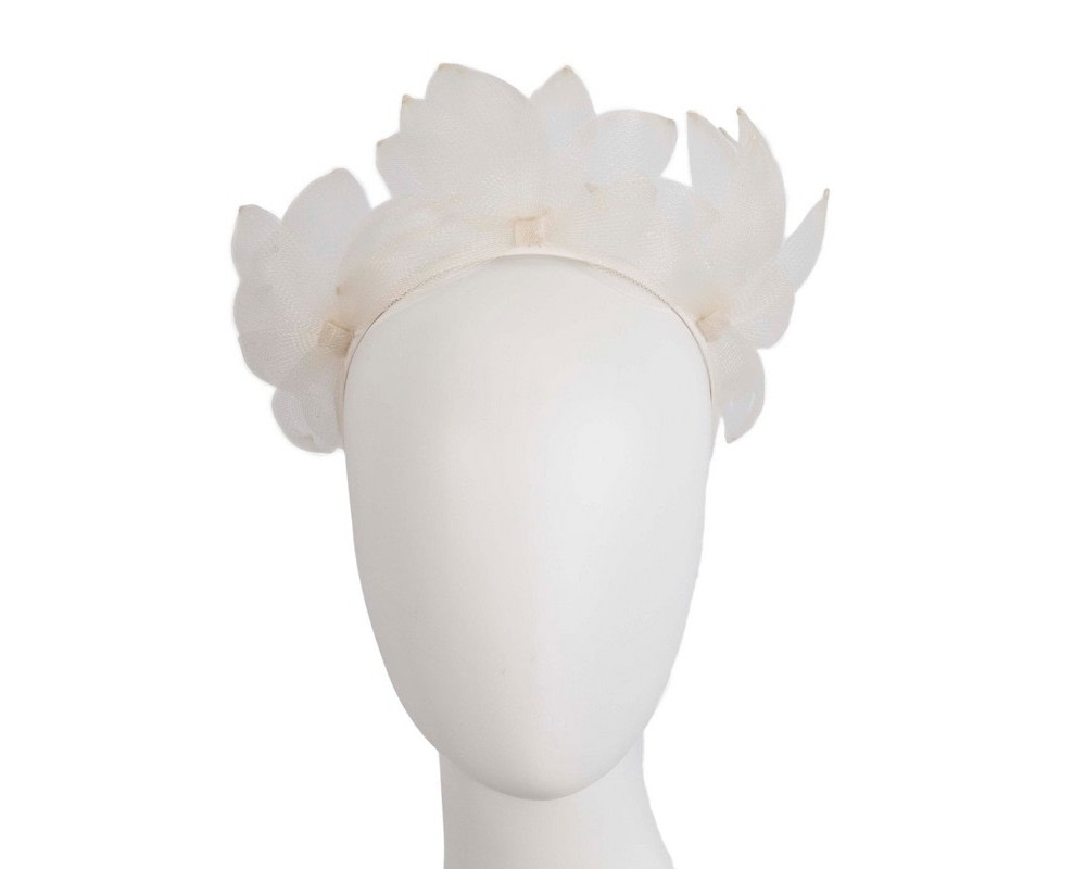 Cream crinoline crown fascinator by Max Alexander