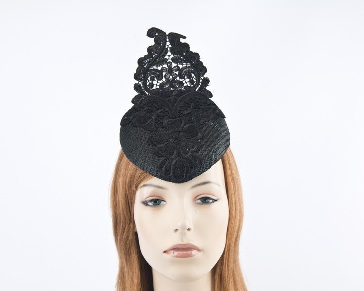 Black pillbox fascinator hat with lace for Melbourne Cup races S168B