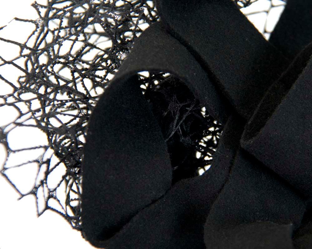 Bespoke black felt winter fascinator