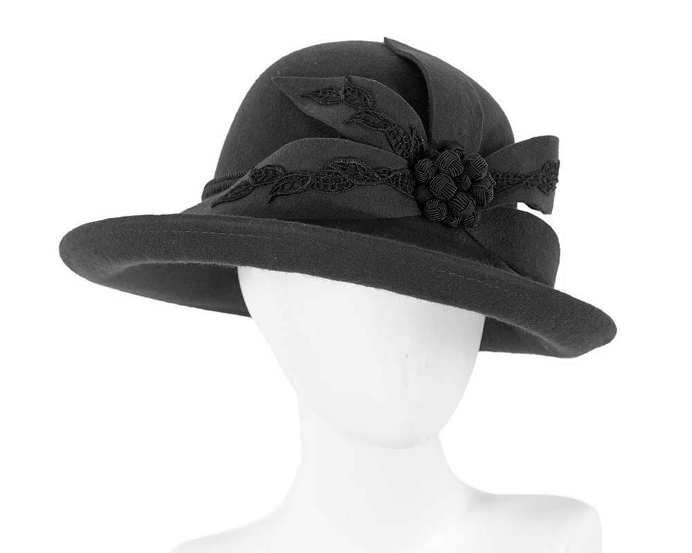 Large black felt designers winter hat