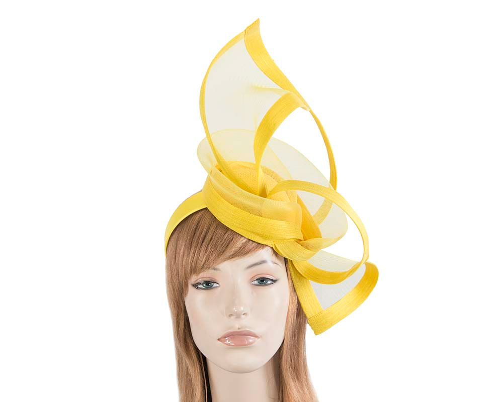 Yellow edgy racing fascinator by Fillies Collection