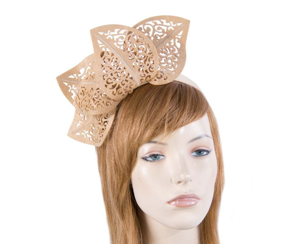 Modern beige racing fascinator by Max Alexander