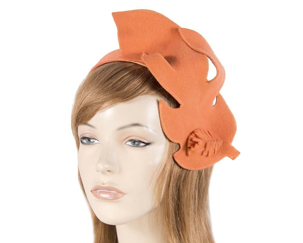 Unusual orange felt Max Alexander fascinator for races buy online in Australia J293O