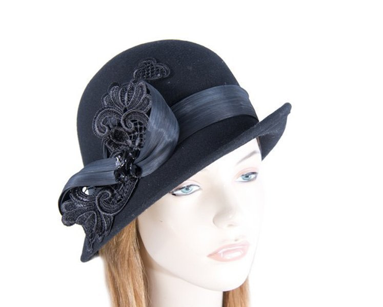 Black cloche hat with lace trim