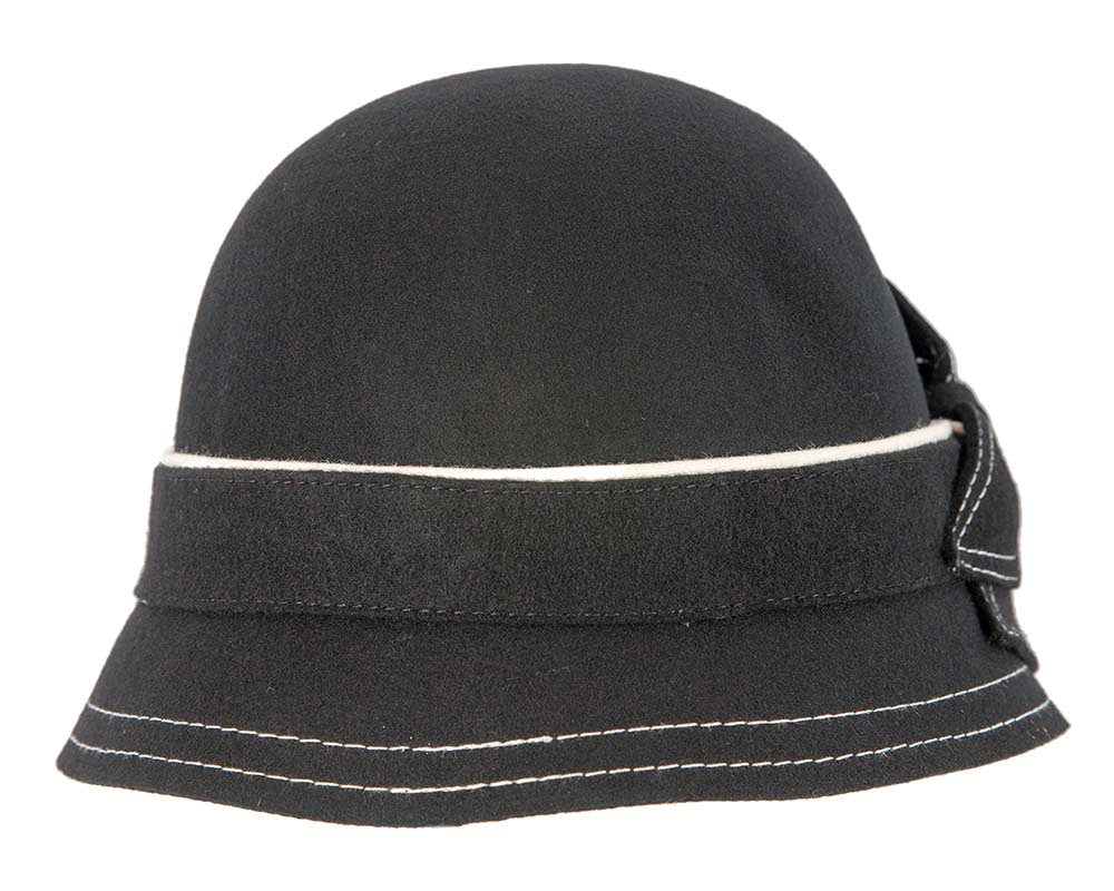 Black felt bucket hat