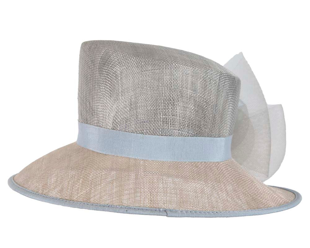 Light blue bucket hat with flower by Cupids Millinery