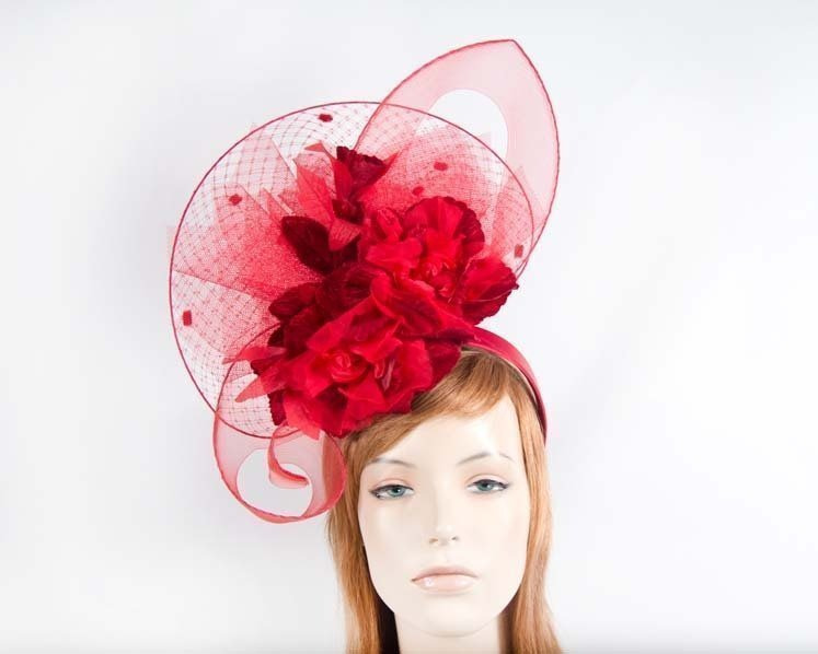 Red bespoke fascinator
