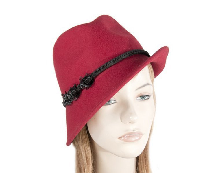 Red trilby felt hat