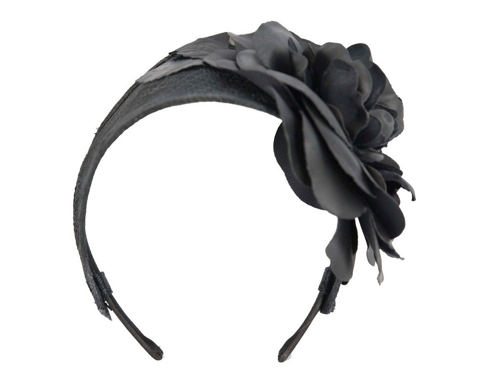 Wide black leather rose headband fascinator by Max Alexander
