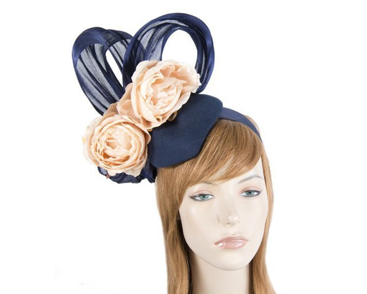 Bespoke Navy & Nude Winter fascinator