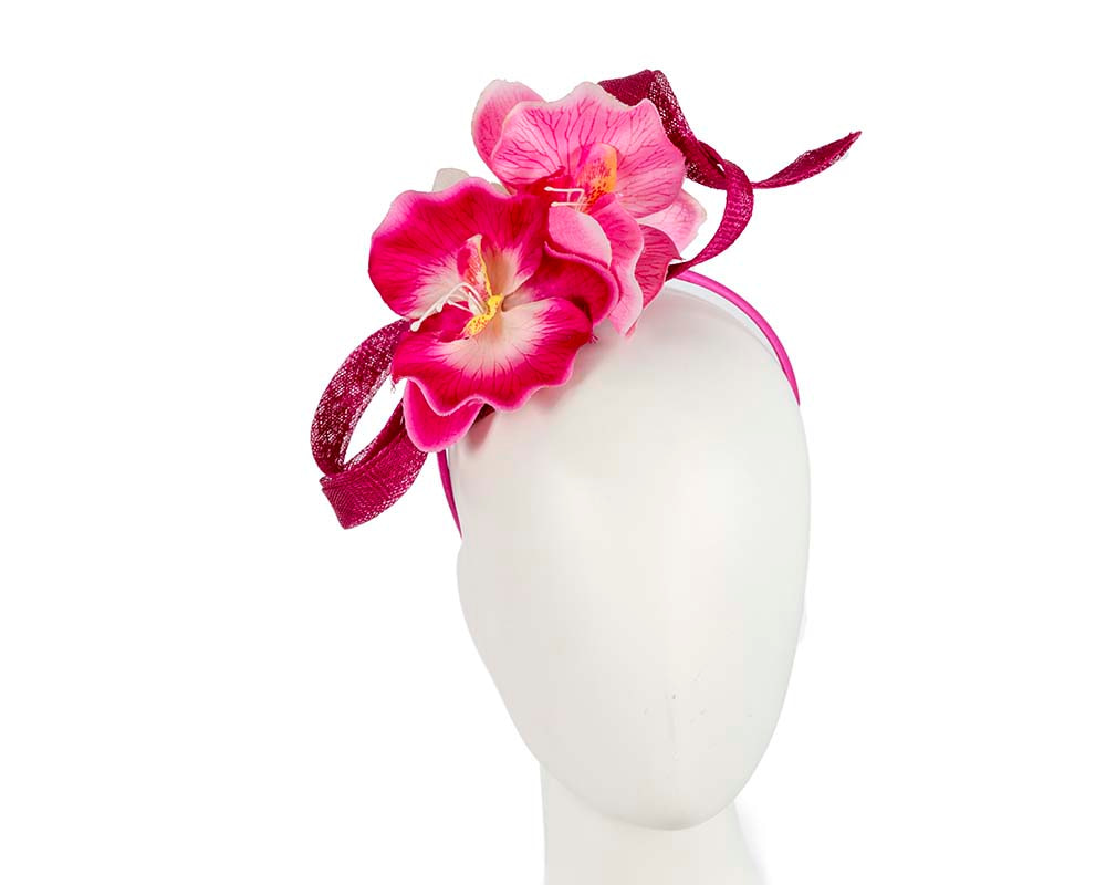 Fuchsia flower fascinator by Cupids Millinery Melbourne
