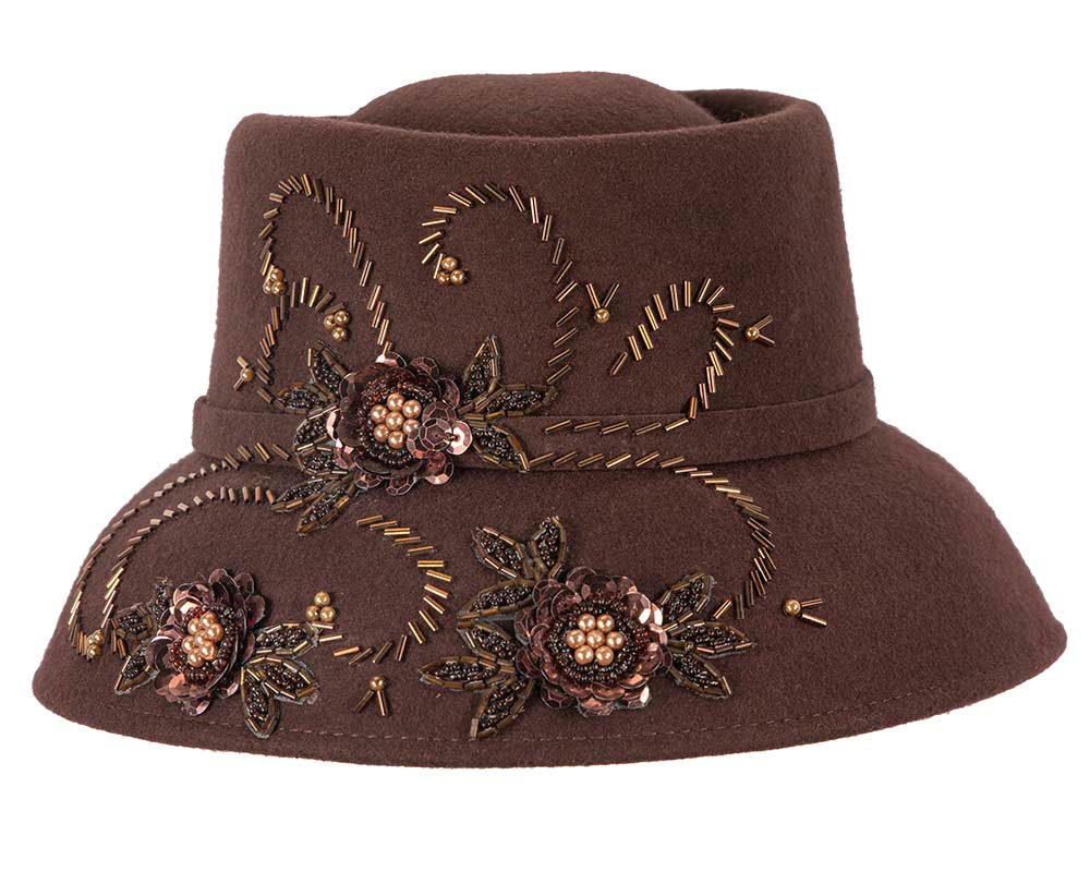 Chocolate felt bucket fashion hat