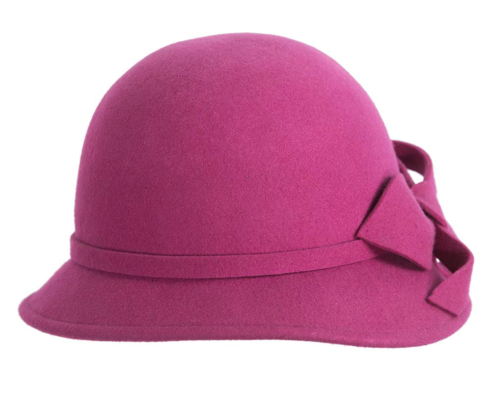 Wide brim ladies winter felt fuchsia cloche hat