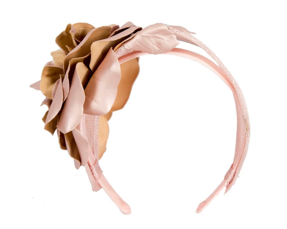 Wide rose gold leather rose headband fascinator by Max Alexander