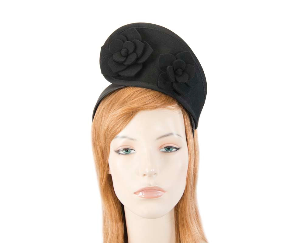 Black tall winter racing crown fascinator