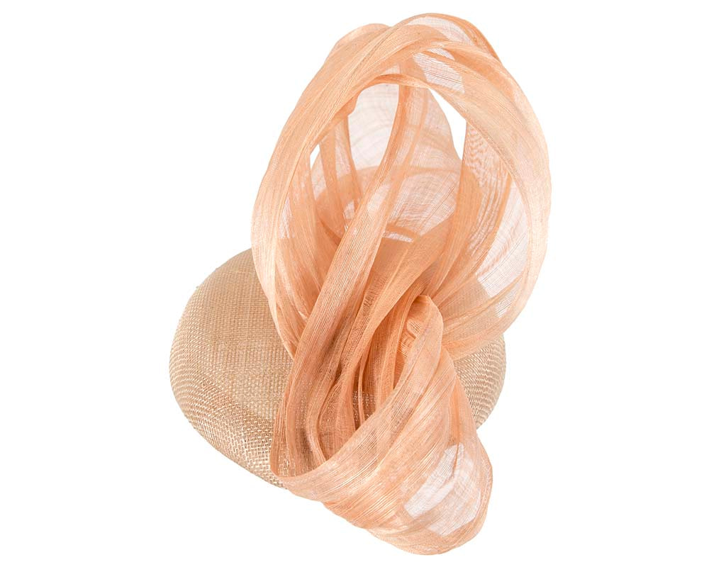 Nude pillbox fascinator with silk abaca bow by Fillies Collection