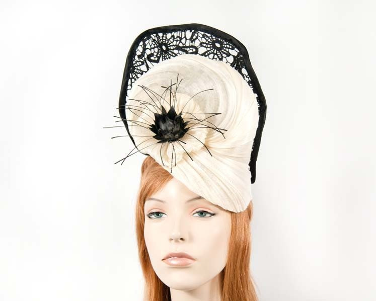 Large cream black fascinator with lace